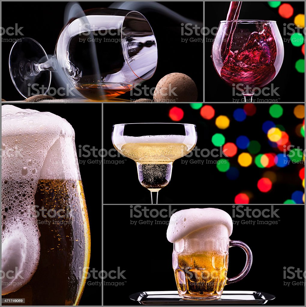 alcohol drinks collage isolated on a black royalty-free stock photo