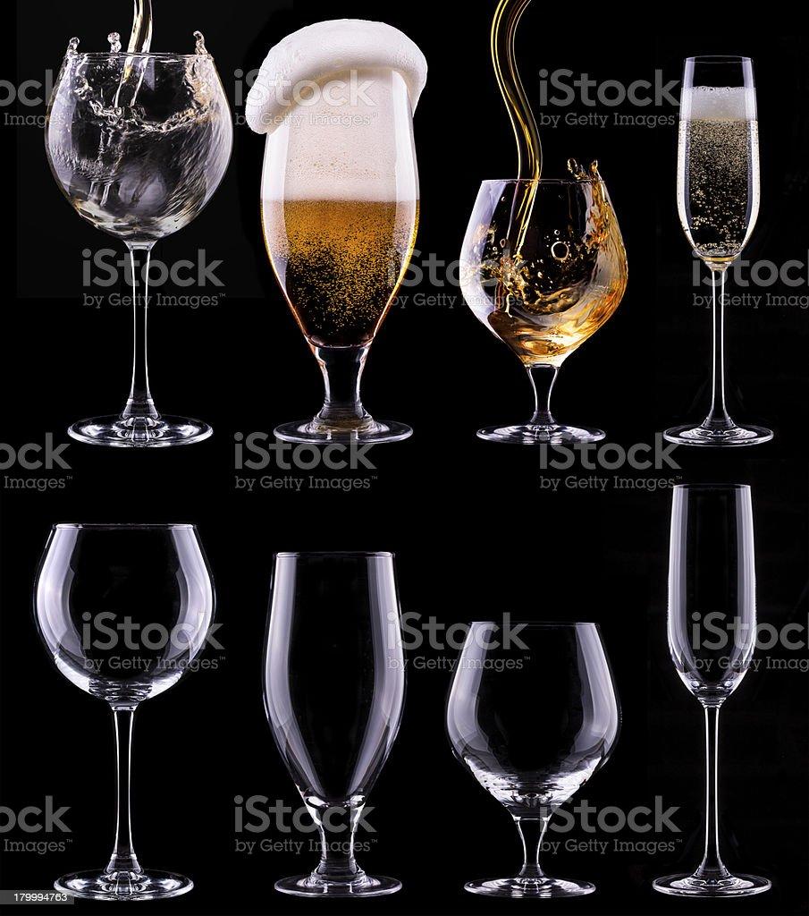 알코올 음료 세트 격리됨에 블랙 royalty-free 스톡 사진