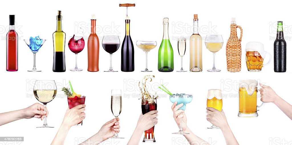 alcohol drinks set making toast royalty-free stock photo