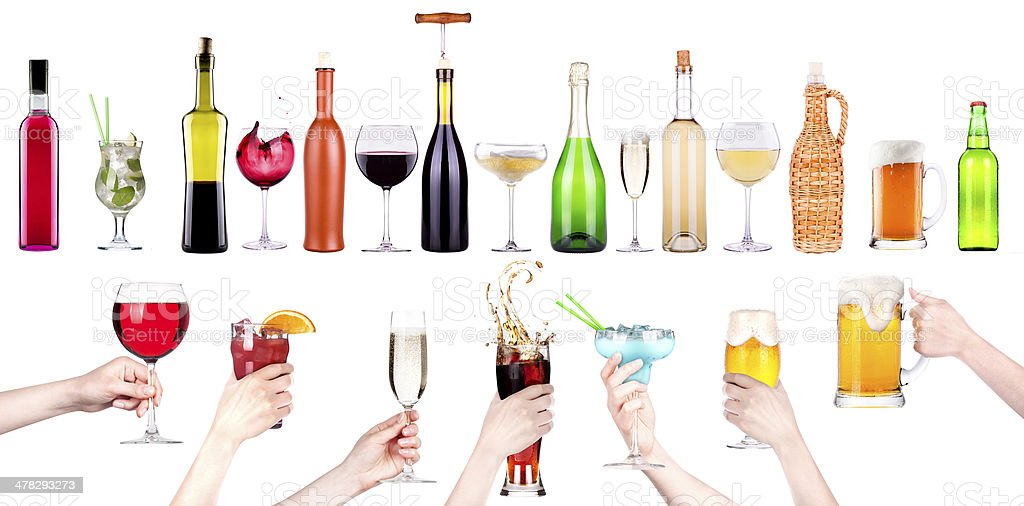 alcohol drinks set making toast royalty-free stock photo
