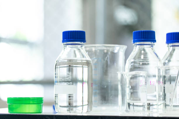 Alcohol extraction for disinfecting gel and ingredients, prevention through antibacterial hygiene. stock photo