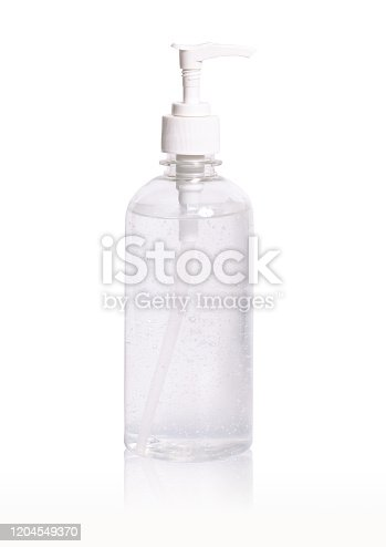alcohol gel clean hand sanitizer in pump bottle isolate on white background clipping path