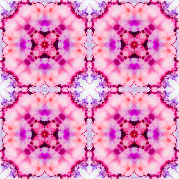 Alcohol Ink Abstract Art Repeating Pattern in Pink, Purple, white and orange stock photo