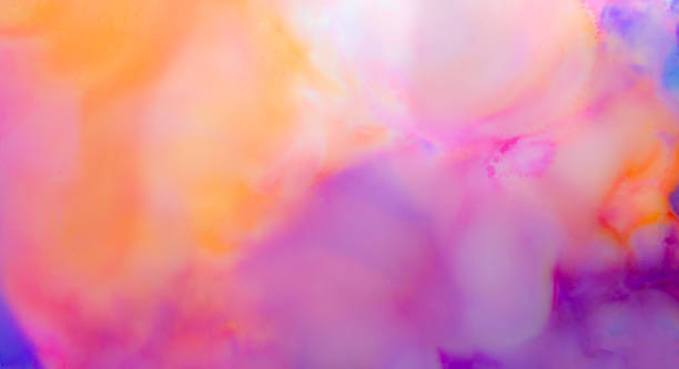 alkohol ink artwork, abstrakt rosa, orange, blau, lila - bunt farbton stock-fotos und bilder