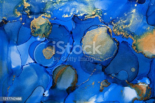 istock Alcohol ink modern abstract painting, modern contemporary art. Highly-textured oil paint. High quality details. 1217742468