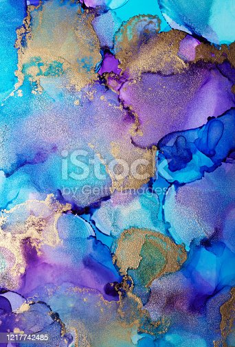 istock Alcohol ink modern abstract painting, modern contemporary art. Highly-textured oil paint. High quality details. 1217742485