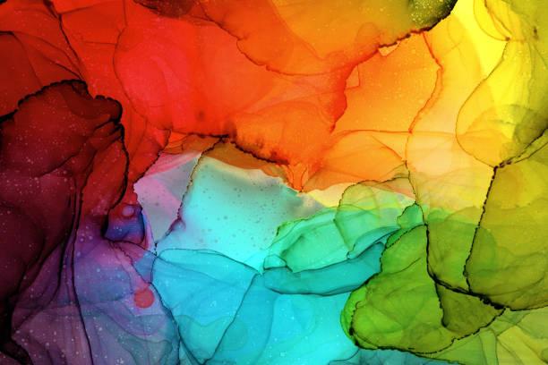 peinture d'encre d'alcool - couleur vive photos et images de collection