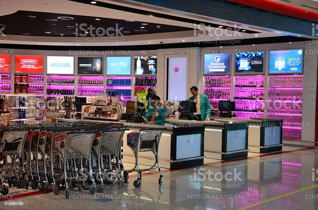 Alcohol liquor sell Dubai airport Duty Free UAE stock photo