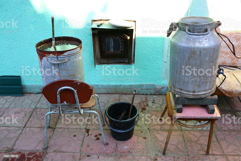 Alcohol mashine stock photo