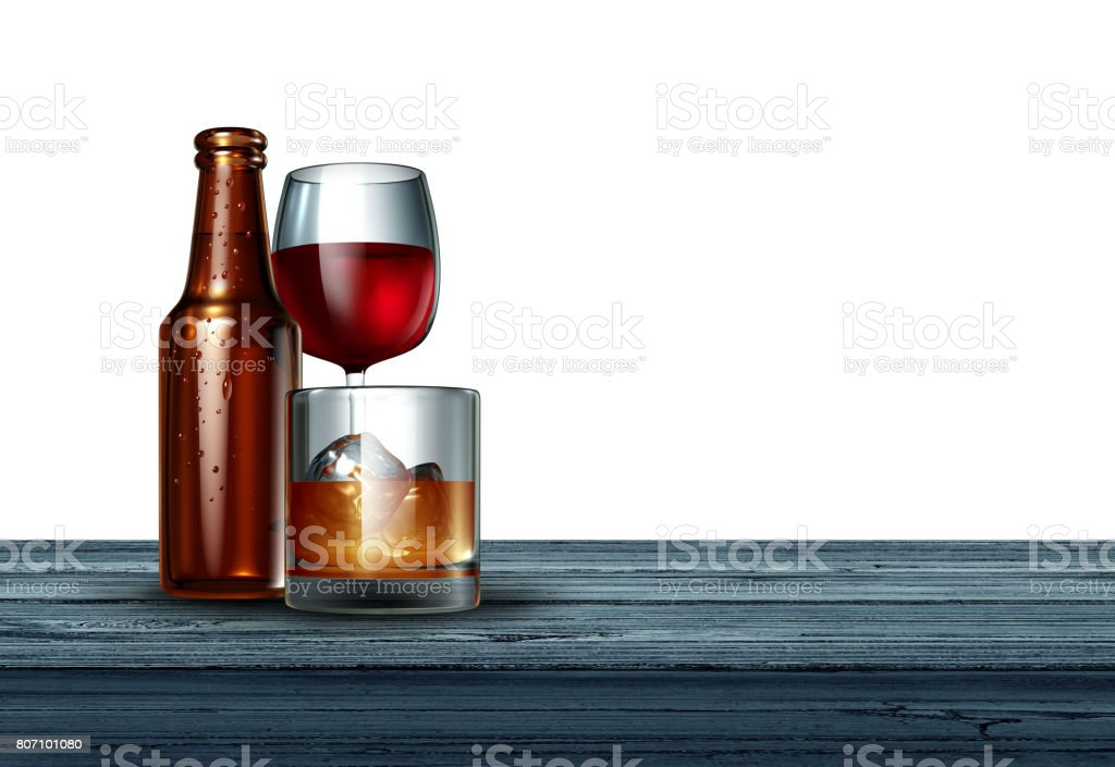 Alcohol On White Background stock photo