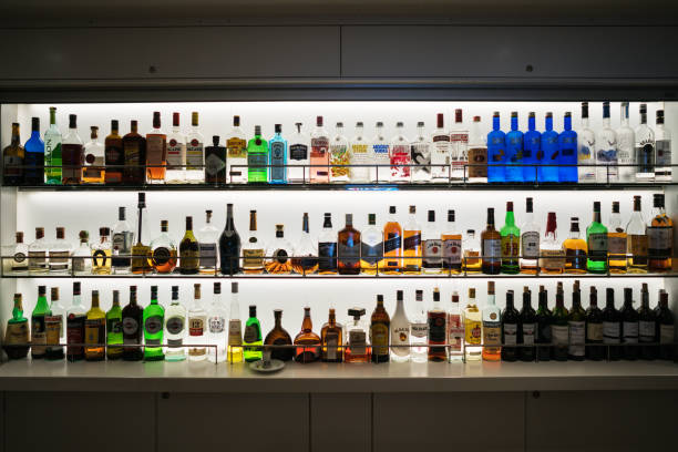 Alcohol shelf in a bar stock photo
