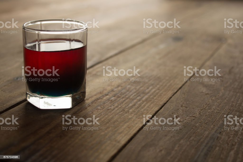 alcohol shot drink two layers red and blue royalty-free stock photo