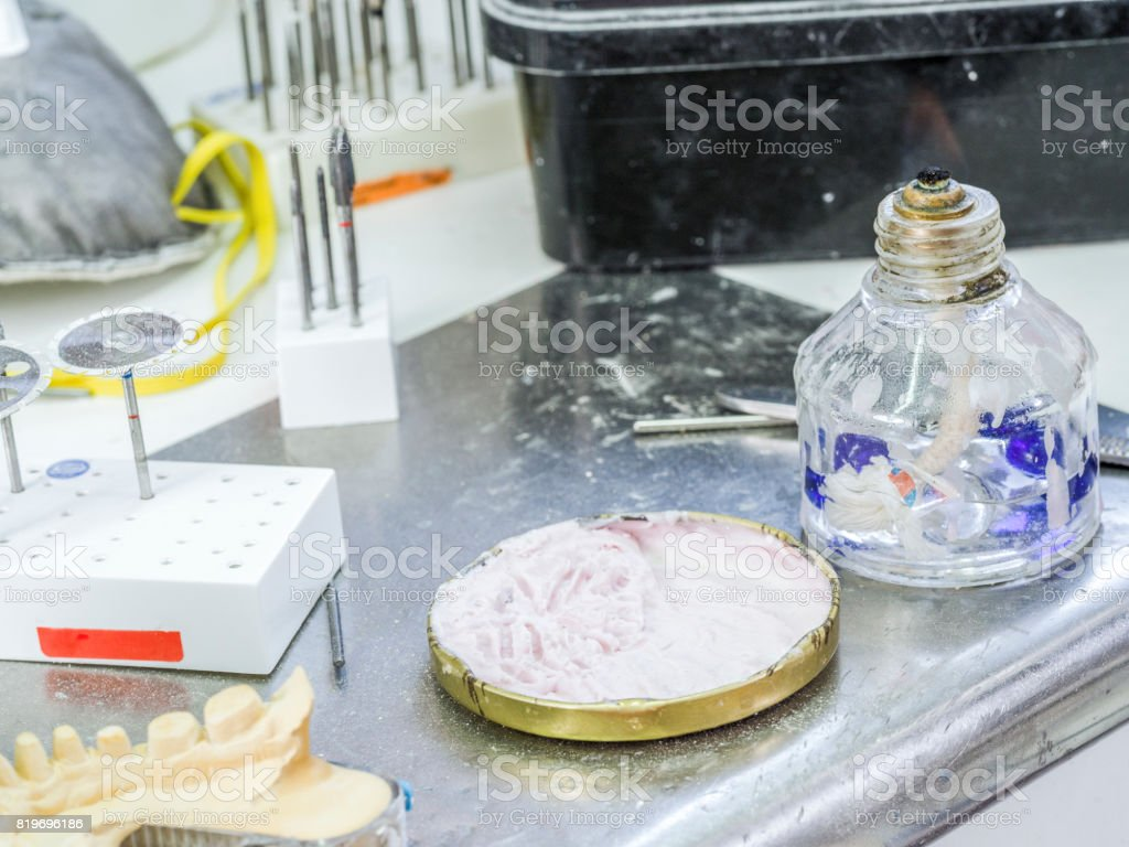 Alcohol spirit burner in a dental lab stock photo
