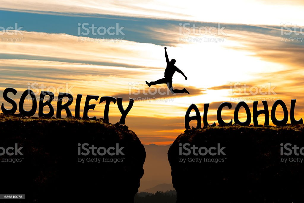 Alcohol to sobriety transformation stock photo