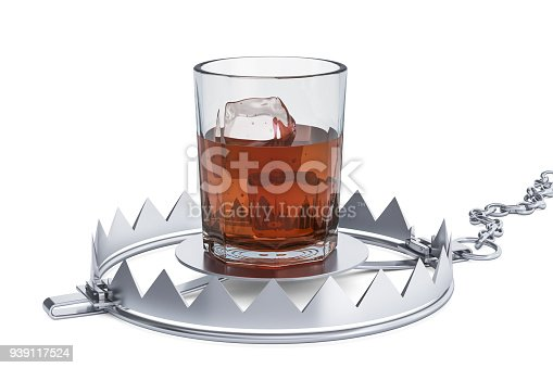 istock Alcohol Trap concept. 3D rendering isolated on white background 939117524