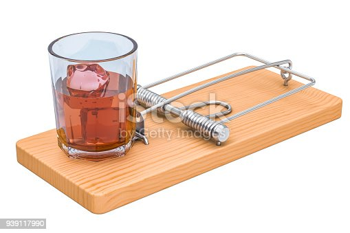 istock Alcohol Trap concept. Glass with alcohol beverage in the mousetrap, 3D rendering isolated on white background 939117990