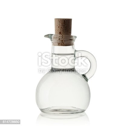 Alcohol vinegar in closed glass botle isolated on white-clipping path