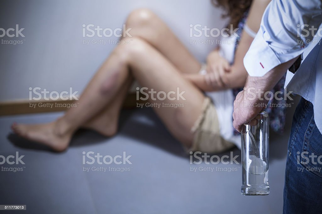 Alcoholic and his victim stock photo