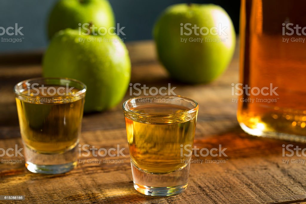 Alcoholic Apple Flavored Bourbon Whiskey stock photo