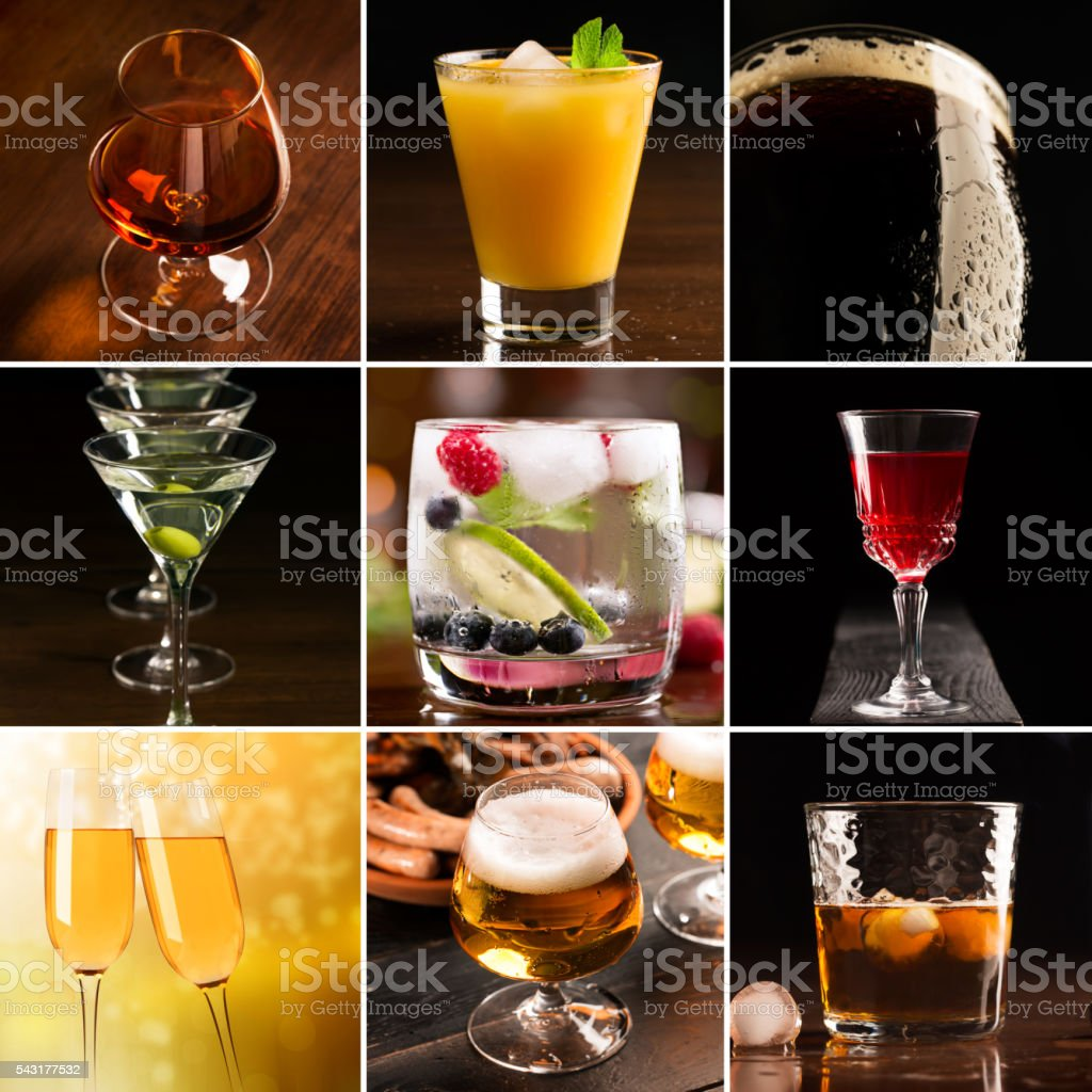 Alcoholic beverages (dark background) stock photo