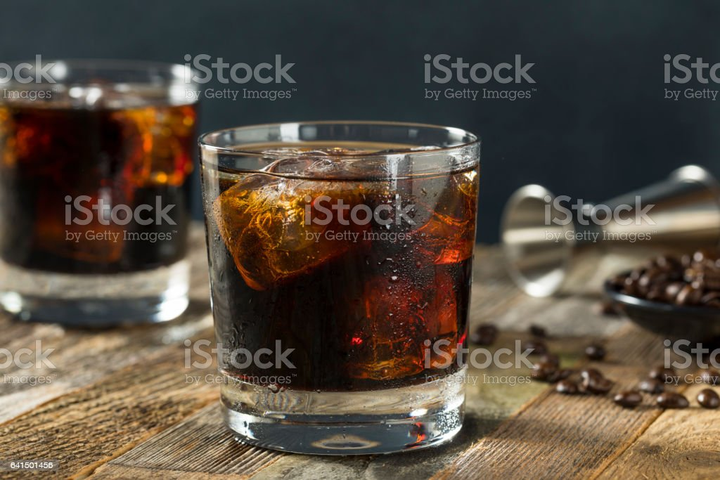 Alcoholic Boozy Black Russian Cocktail stock photo