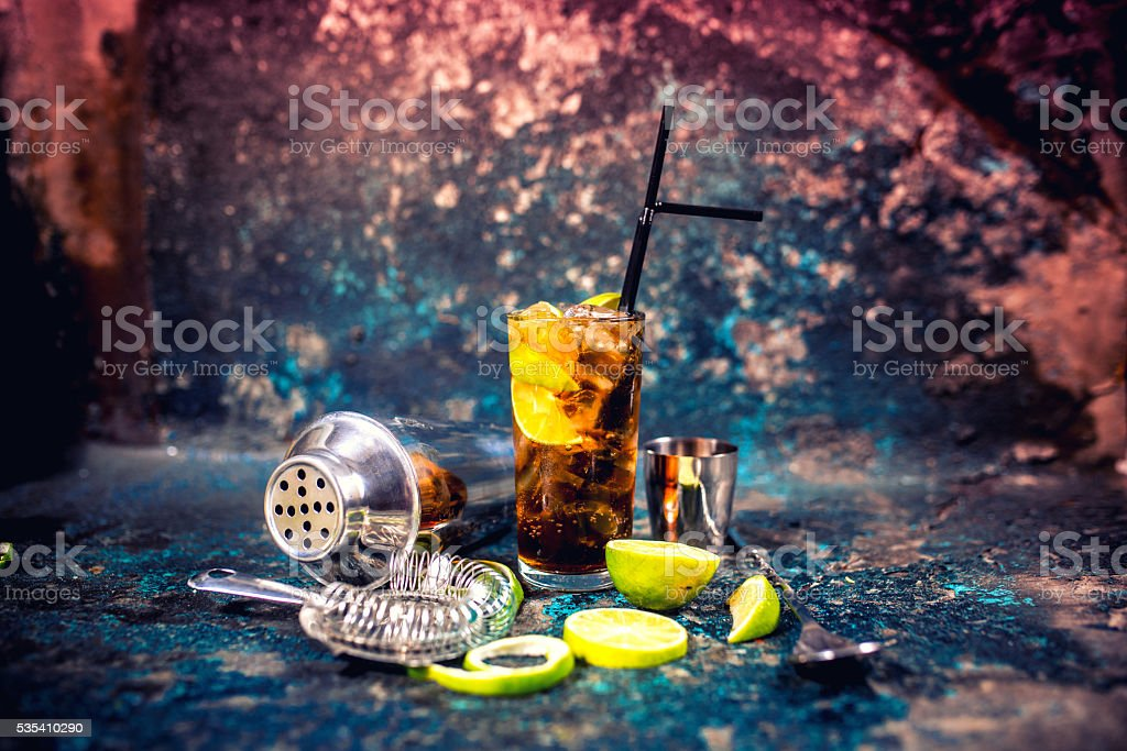 Alcoholic cocktail beverage, cuba libre drink with garnish stock photo