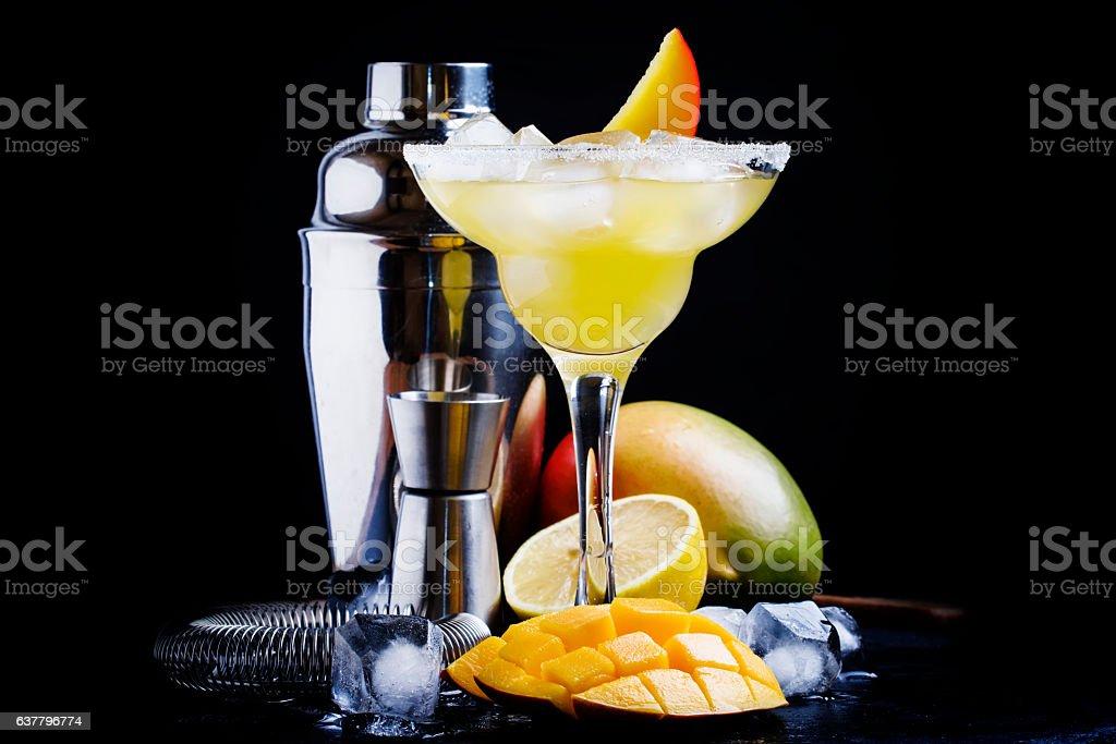 Alcoholic cocktail mango daiquiri stock photo