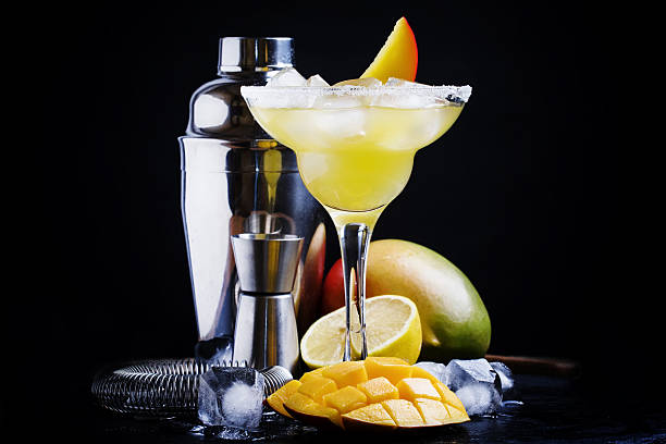 alcoholic cocktail mango daiquiri - margarita drink stock photos and pictures