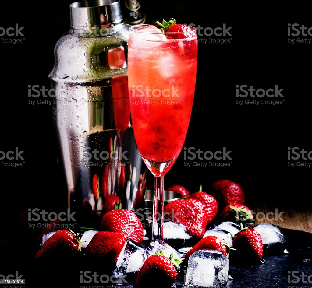 Alcoholic cocktail strawberry malarky with fresh berries stock photo
