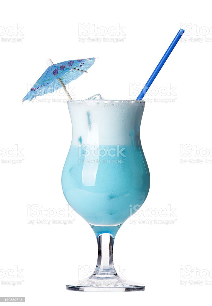 alcoholic cocktail  with umbrella and tube stock photo