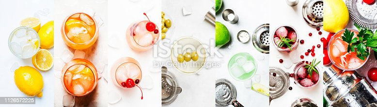 Alcoholic cocktails. Top view, flat lay. Light background. Photo collage