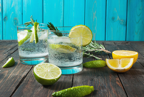 Alcoholic drink gin tonic cocktail with lemon, rosemary and ice