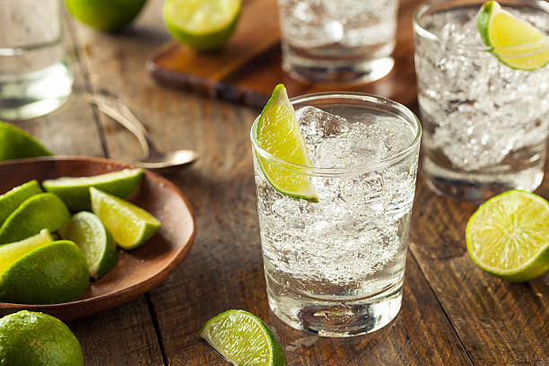 Alcoholic Gin and Tonic Alcoholic Gin and Tonic with a Lime Garnish vodka stock pictures, royalty-free photos & images