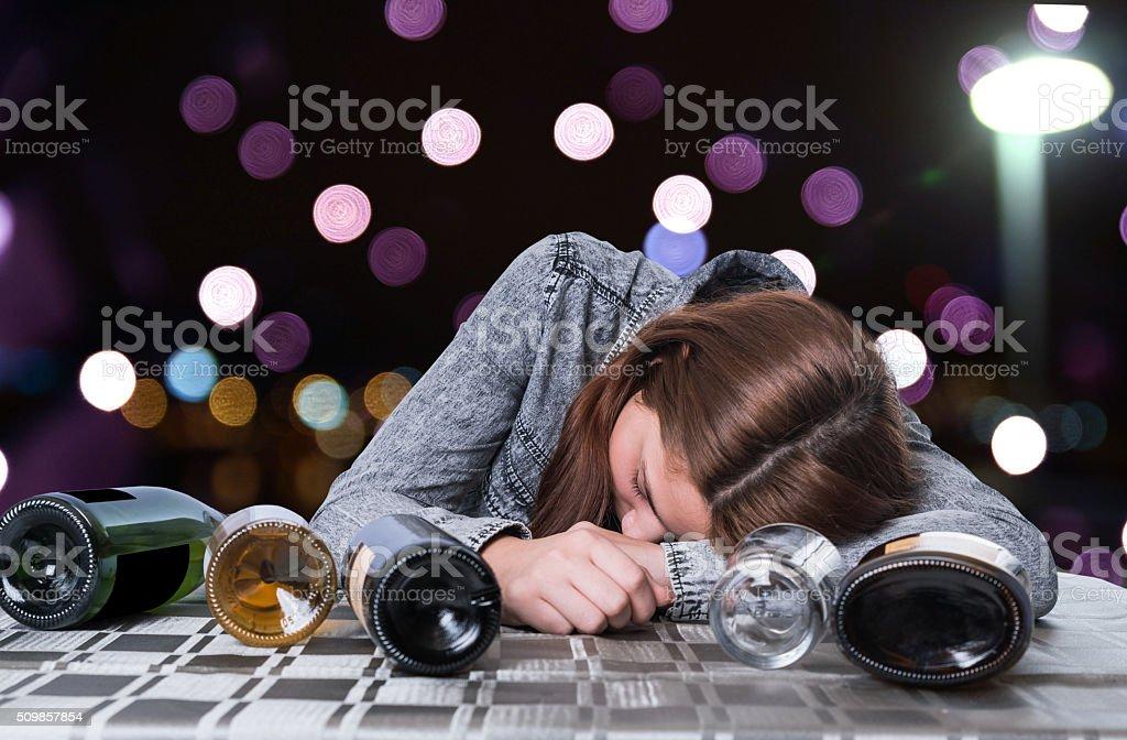 alcoholic girl stock photo