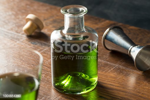 Alcoholic Green Absinth Apertif in a Bottle for Cocktails