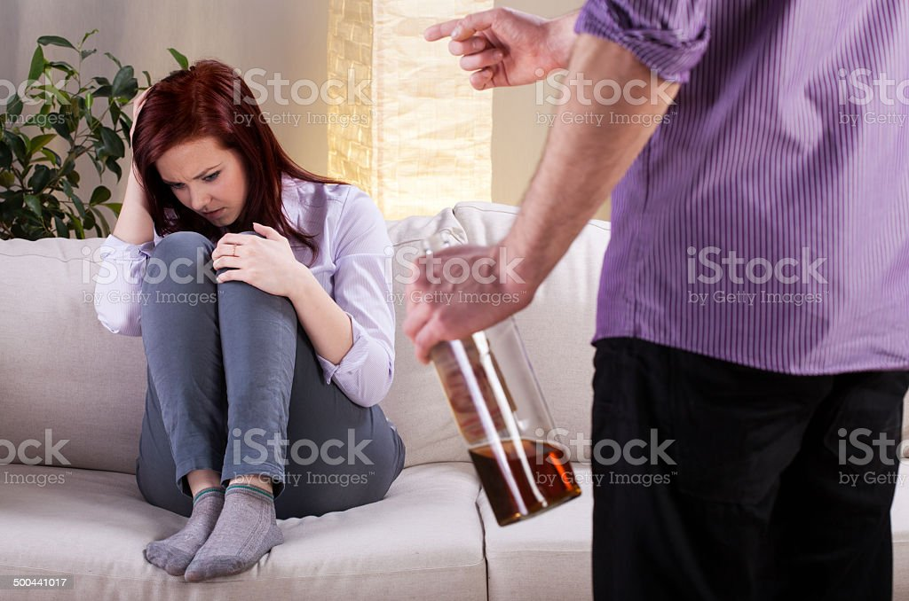 Alcoholic problem in family stock photo