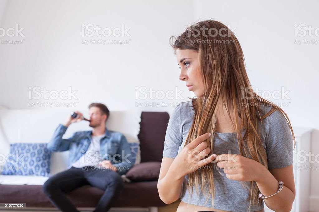 alcoholism in family stock photo