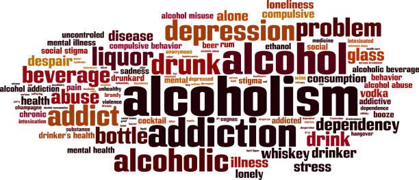 Alcoholism word cloud concept stock photo