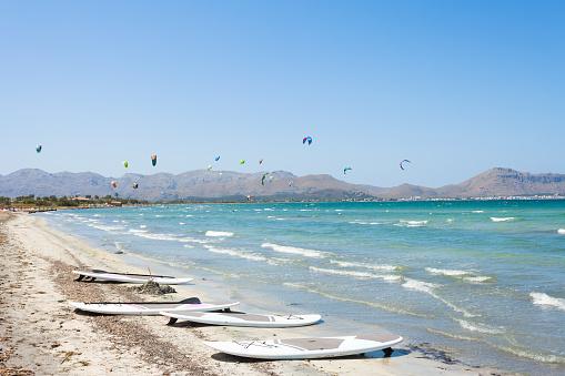 Alcudia, Mallorca - Kitesurfing at the beautiful beach of Alcudia