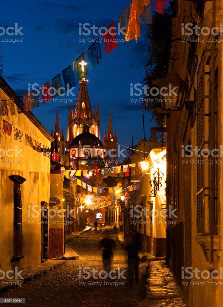 San Miguel de Allende, GTO, Mexico - July 14, 2015: Aldama de Noche, San Miguel de Allende, Mexico stock photo