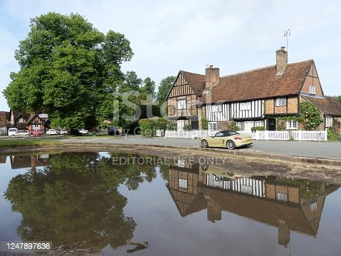 istock Aldbury village duck pond and The Old Manor House in Hertfordshire, UK 1247897636