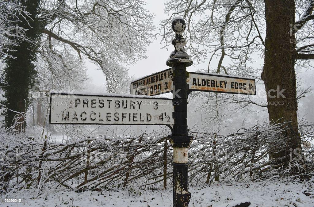 Alderley Edge signpost in the Snow 2 stock photo