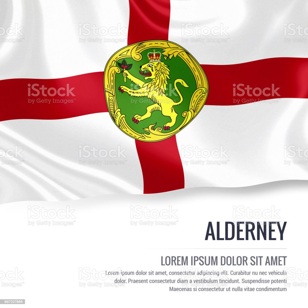 Alderney flag. Silky flag of Alderney waving on an isolated white background with the white text area for your advert message. 3D rendering. stock photo