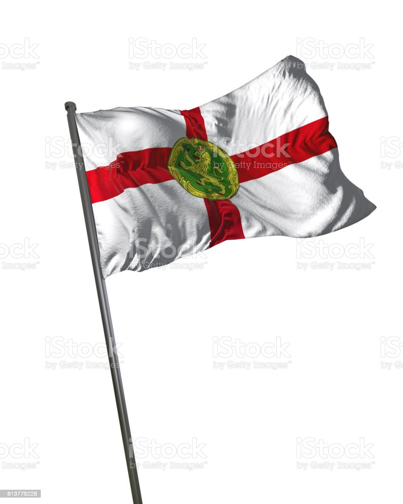 Alderney Flag Waving Isolated on White Background Portrait stock photo
