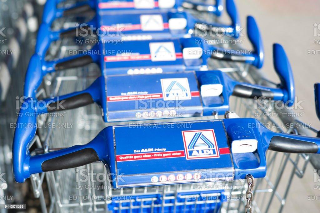 Aldi shopping carts in a row stock photo