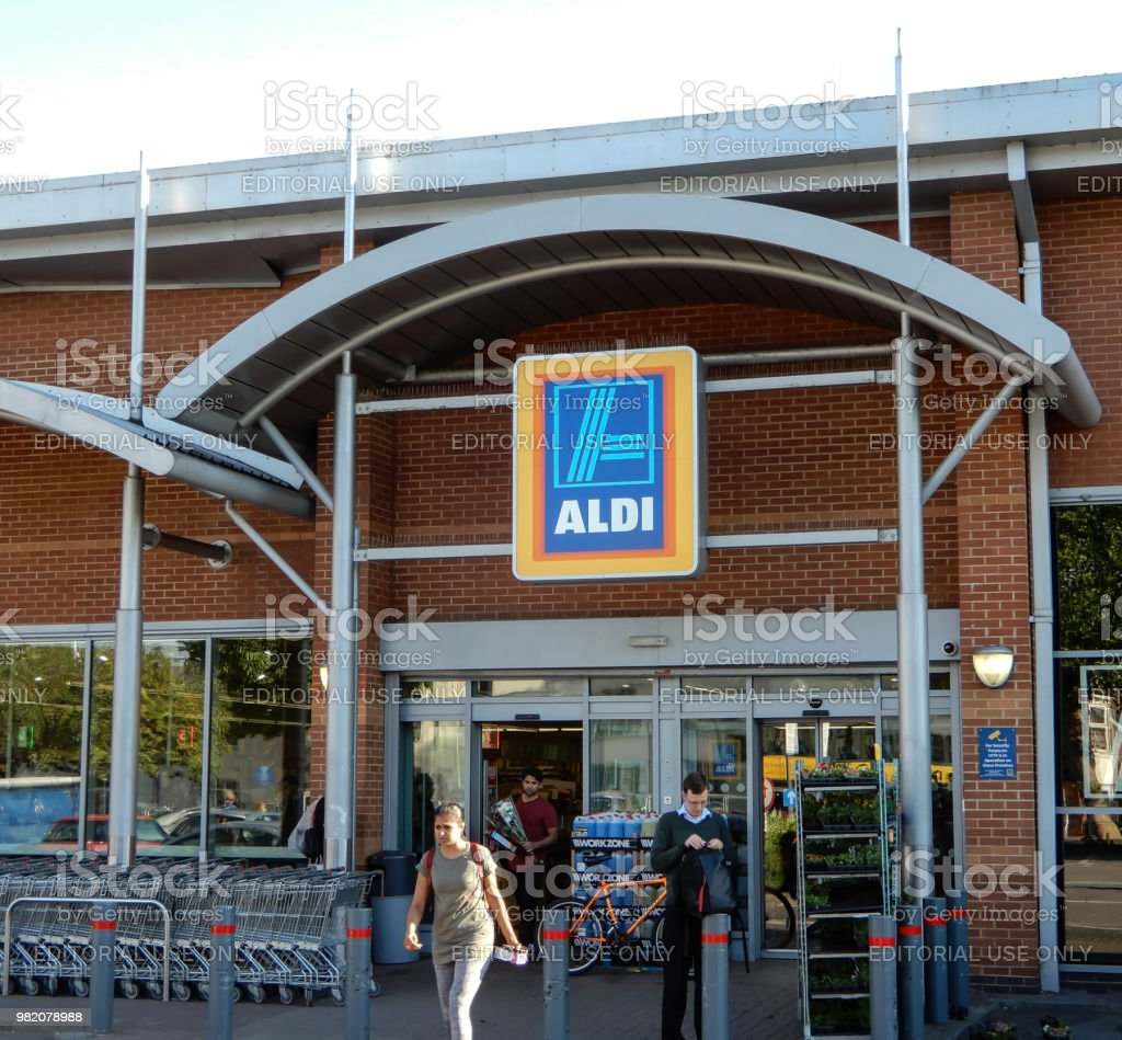 Aldi Supermarket Entrance at The Station Shopping Park stock photo