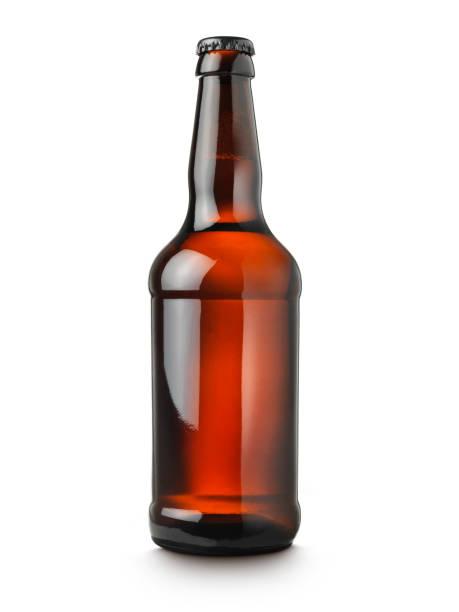 garrafa de cerveja no fundo branco - ale - fotografias e filmes do acervo