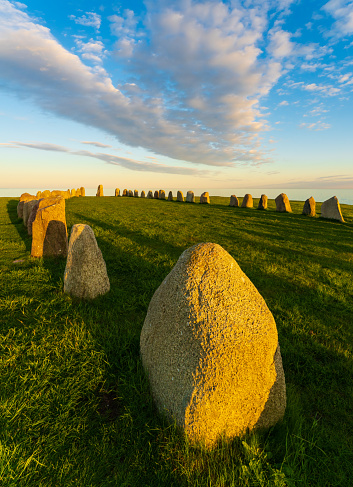 Ale Stones (Ales stenar) Is a megalithic monument of 59 large boulders and is 67 meters long. This landmark is located in Kåseberga, Sweden.
