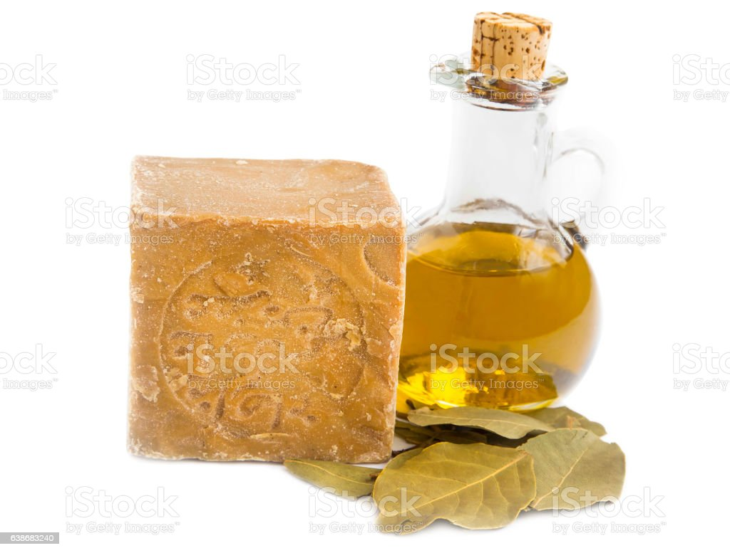 Alep soap with olive oil and bay leaves stock photo