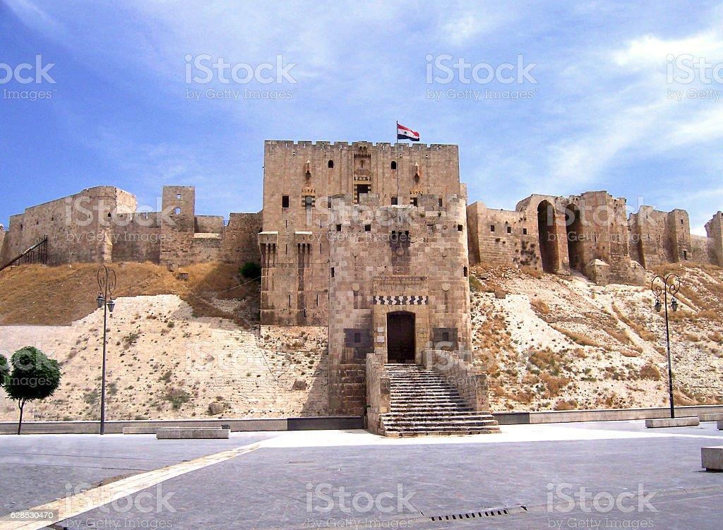 Aleppo citadel before war Syria stock photo